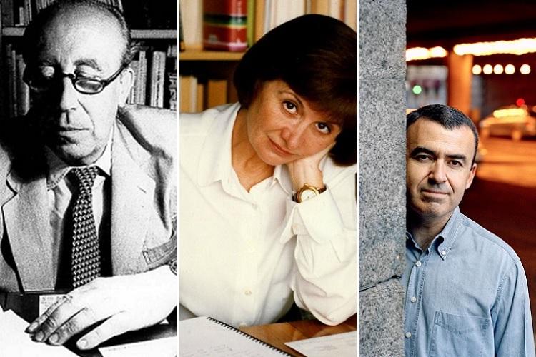 Soldan sağa: Francisco García Pavón, Alicia Giménez Bartlett ve Montalbán'ın yarattığı TV'ye de uyarlanan Pepe Carvalho karakteri...